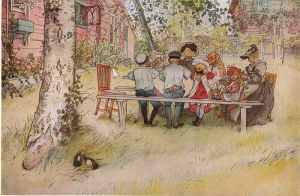Breakfast Under the Big Birch Tree - Carl Larsson