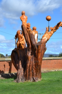 The History of Campbell Town carved in an old Cypress tree