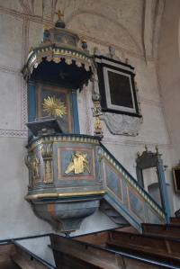 The pulpit in the old church at Gamla Uppsala