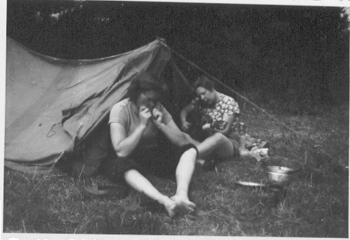 My mum and a sister camping. I don't think they have mastered the art of pitching a tent.